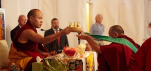 17th Karmapa at KPL in 2011 being offered mandala by Bardor Rinpoche